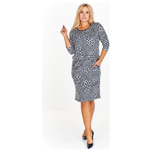 15b57c0c96 Sukienka Le-kri szara midi z długim rękawem w abstrakcyjne wzory dzienna