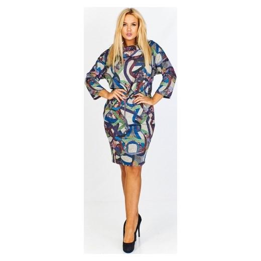 072724d2e6 Sukienka Amadeo z długimi rękawami midi w abstrakcyjnym wzorze casual dla  puszystych