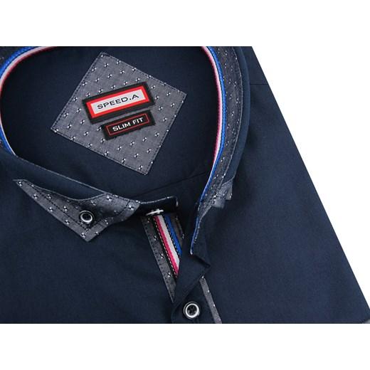 e8662e78f9fde8 A z długimi rękawami z tkaniny; Koszula męska Speed.A tkaninowa z długim  rękawem z klasycznym kołnierzykiem ...