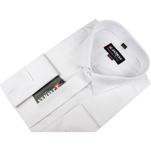 81037e9e339209 Koszula męska Jasman biała z długim rękawem tkaninowa w Domodi