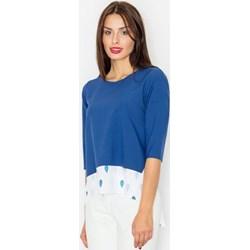 94a746342df1a3 Bluzka damska Figl niebieska z krótkim rękawem z tkaniny
