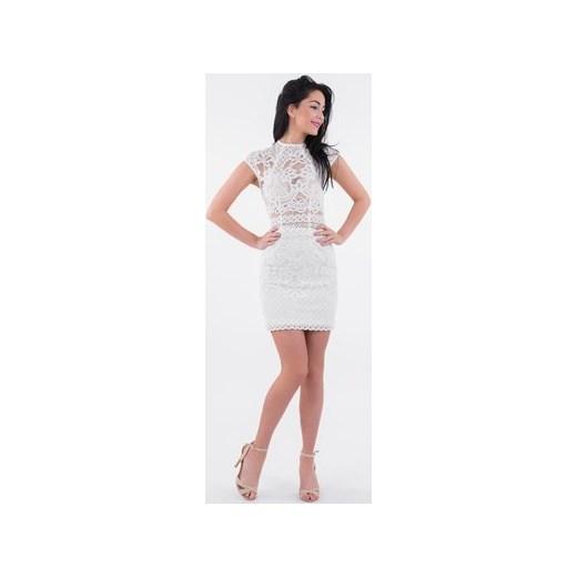 29049d350d Sukienka biała Lulu Fashion  amp  Style Poland dopasowana z krótkimi  rękawami koronkowa na imprezę midi