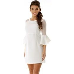 25688dfc09 Sukienka Ella Dora na ślub cywilny z okrągłym dekoltem mini prosta