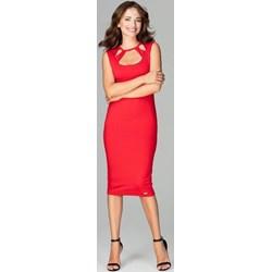 c71b60ff37 Sukienka Lenitif bez rękawów bez wzorów midi na randkę dopasowana