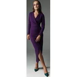 ef7b01b6de Sukienka Madnezz z długim rękawem dla puszystych elegancka z dekoltem v midi