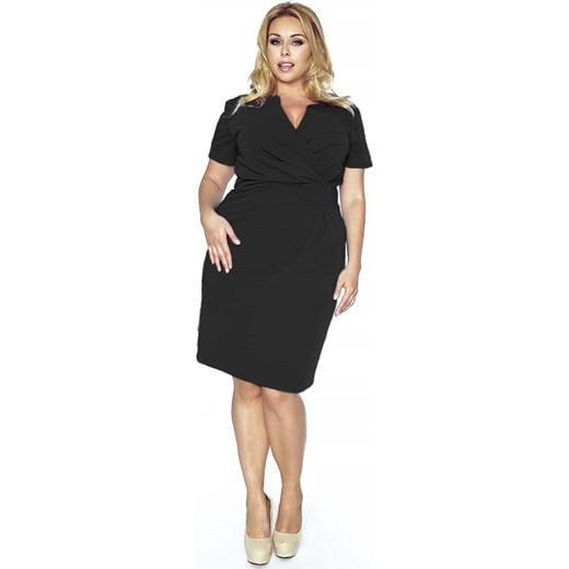 0a7d2081ea Czarna Elegancka Sukienka z Założeniem Kopertowym molly-pl czarny elegancki.  Zobacz  Kartes Moda