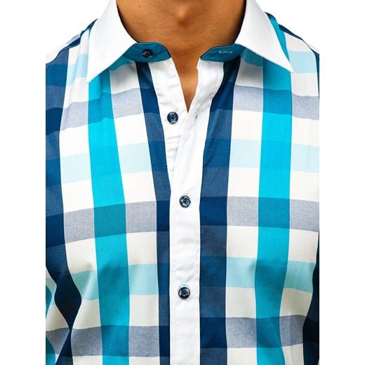 6770e39e7442 ... Wielokolorowa koszula męska Denley w kratkę elegancka z krótkim rękawem  bawełniana ...