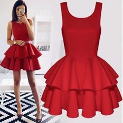 2fa4ccdb81e5 Sukienka Pakuten z okrągłym dekoltem rozkloszowana gładka na imprezę na  ramiączkach mini