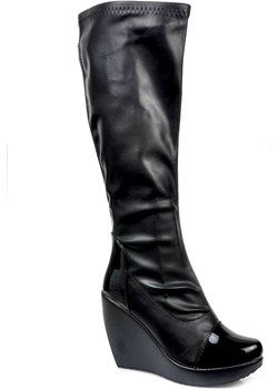 Czarne kozaki damskie na koturnie /F1-3 2528 S416/  GOFC pantofelek24.pl - kod rabatowy