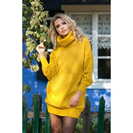 7eccb2df35 Sukienka Fobya na co dzień oversize z golfem mini bez wzorów wełniana ...
