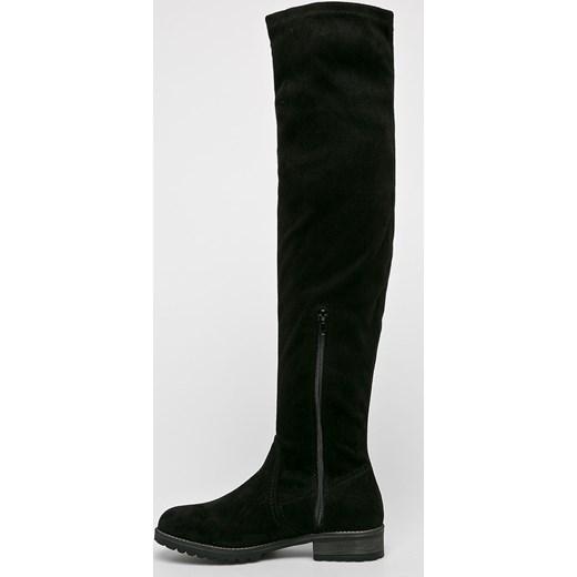 219df6d6998b9 ... Kozaki damskie S.Oliver z zamkiem czarne za kolano bez wzorów na płaskiej  podeszwie ...
