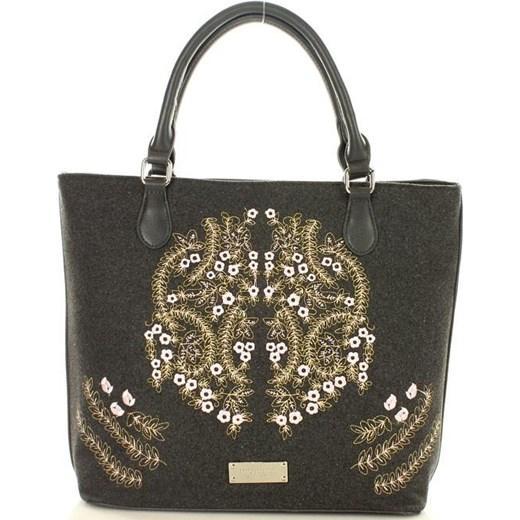 e81eb80a1e0ae3 Shopper bag czarna Monnari duża casual do ręki z haftem w Domodi