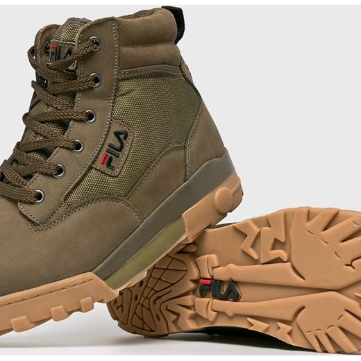 4c95b8e7 Fila buty trekkingowe męskie sportowe sznurowane na zimę zielone z nubuku w  Domodi