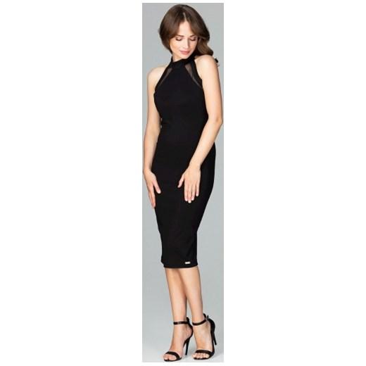 dc25987bf7 Sukienka czarna Lenitif bez rękawów bez wzorów midi dopasowana w Domodi