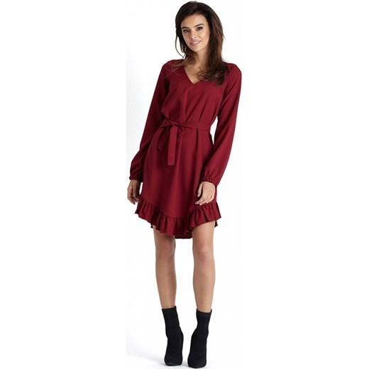5a0c63500d Sukienka Ivon bez wzorów midi wiosenna z długim rękawem w Domodi