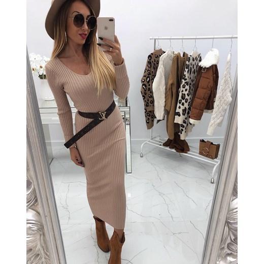 60d59ab6bb Sukienka z dekoltem v z długimi rękawami casual w Domodi