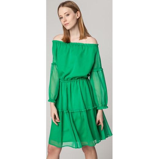 ee4896cf9a Sukienka Solar rozkloszowana z tkaniny midi w Domodi