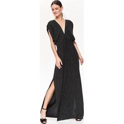 25fbf379773654 Sukienka Top Secret prosta bez wzorów na karnawał z dekoltem w literę v z  krótkim rękawem