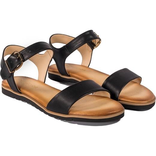 8435fa1ea4243 ... Sandały damskie z klamrą płaskie ze skóry gładkie casualowe bez obcasa  ...