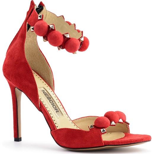 Sandały damskie na obcasie na zamek na wysokim gładkie skórzane Buty Damskie MC czerwony Sandały damskie PDBS