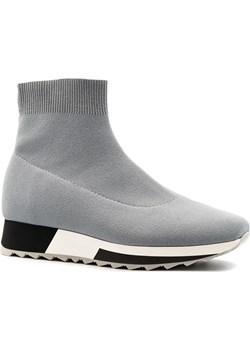 Szare sportowe sneakersy socks na białej podeszwie 256B Neścior  NESCIOR - kod rabatowy
