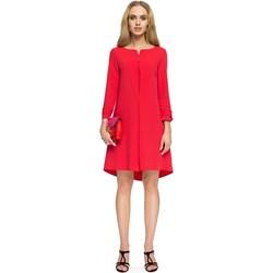 78987618d1 Sukienka Stylove czerwona asymetryczna z długimi rękawami midi