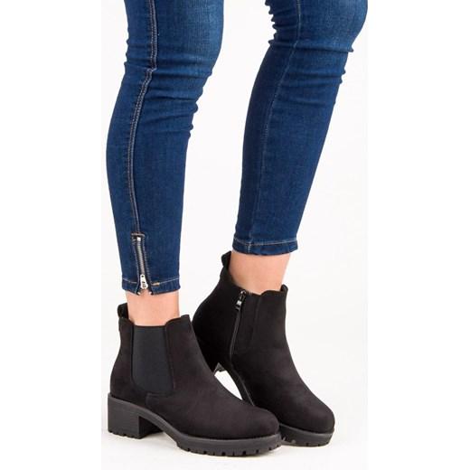 88eedfdded3e7 Botki Ideal Shoes bez wzorów czarne casual w Domodi