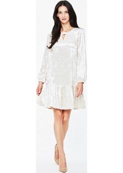 Welurowa kremowa sukienka Potis & Verso AMANA L'af szary Eye For Fashion - kod rabatowy