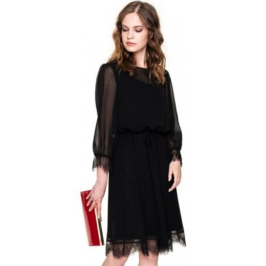 f3656dbb4f ... długim rękawem  Sukienka L af na sylwestra trapezowa czarna z okrągłym  dekoltem midi ...