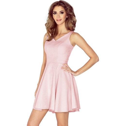 4fd26905f1 Sukienka różowa wiosenna z dekoltem v rozkloszowana w Domodi