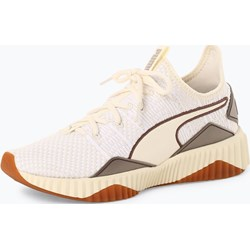 2d861ba37149e Buty sportowe damskie Puma sznurowane beżowe na koturnie w abstrakcyjnym  wzorze tkaninowe