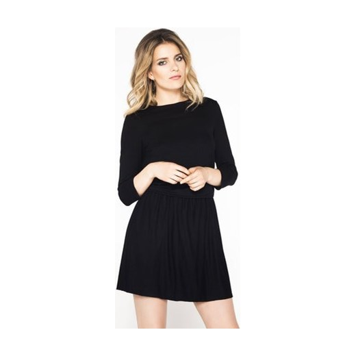 ec33510a14 Sukienka Wow Fashion elegancka z okrągłym dekoltem trapezowa do pracy z  długim rękawem mini