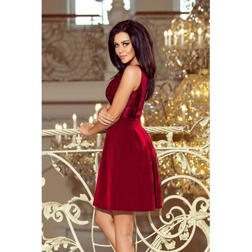 d648504ddc ... ramiączkach elegancka  Sukienka Numoco elegancka czerwona midi  rozkloszowana ...