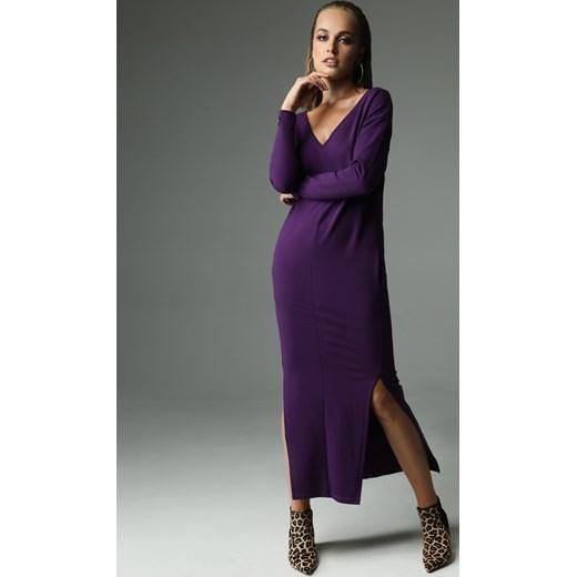 c45281bbe8 Sukienka Madnezz z długim rękawem dzienna fioletowa z wiskozy z dekoltem v  wyszczuplająca ...