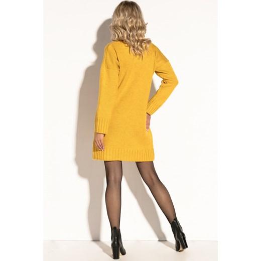 f4ac732afc Fobya sukienka żółta oversize owa na uczelnię z wełny mini bez ...