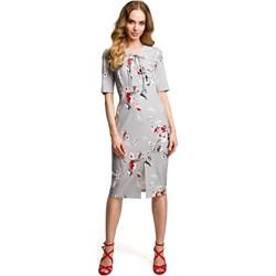 62c9d1137c Szara sukienka Moe midi z krótkim rękawem