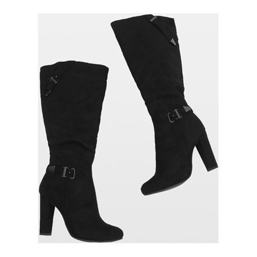 8a5d48ff53677 ... bez wzorów; Kozaki damskie eleganckie czarne na zimę na zamek na obcasie  ...