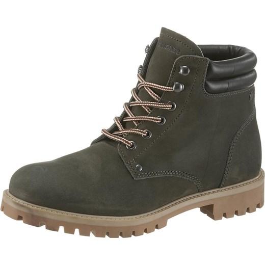 cfdb7bdc1940 Jack   Jones buty zimowe męskie skórzane zielone casual w Domodi