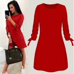 905ba924843a Sukienka czerwona Pakuten midi z długimi rękawami gładka