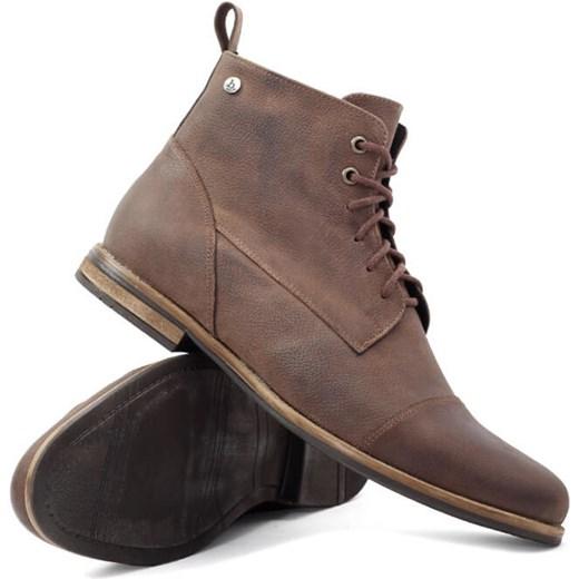 f2a5fac60c48d Brilu.pl buty zimowe męskie na zamek brązowe casualowe skórzane w Domodi