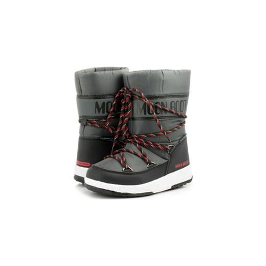 4467ed9b149bd Moon Boot buty zimowe dziecięce sznurowane czarne śniegowce w Domodi
