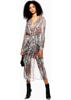 Snake Print Chiffon Midi Dress  Topshop  - kod rabatowy