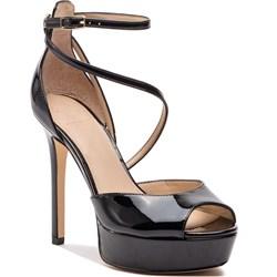 8d69501534d42 Sandały damskie Guess czarne z klamrą ze skóry ekologicznej eleganckie bez  wzorów na wysokim obcasie na ...