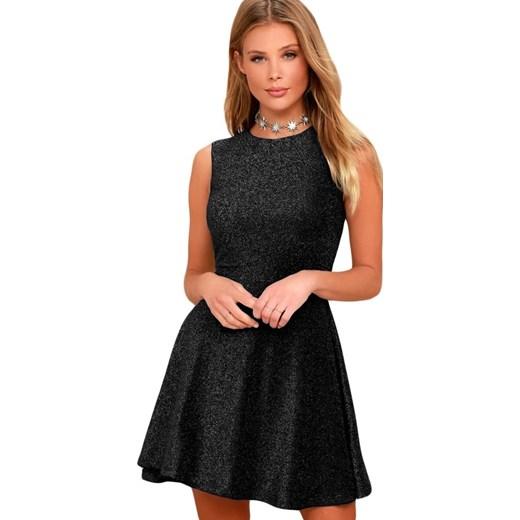 95ec935875 Sukienka czarna Elegrina mini rozkloszowana bez wzorów bez rękawów z ...