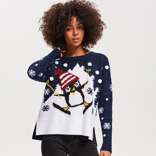 38e556dc93914f Reserved - Sweter ze świątecznym motywem - Granatowy Reserved S ...