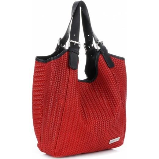 4c0f850a3dc08 Shopper bag Vittoria Gotti do ręki duża bez dodatków skórzana z tłoczeniem