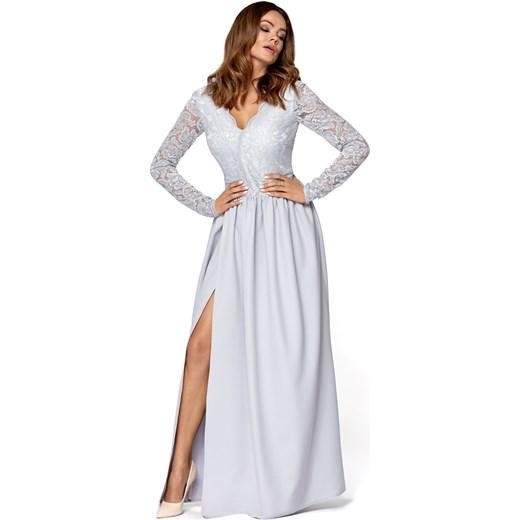 9394fe6f20 Sukienka na bal na wesele biała z dekoltem v elegancka w Domodi