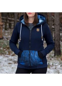 Bluza damska z kapturem rozpinana ZIMOWY LAS - granatowa XS   Szwendam się - kod rabatowy