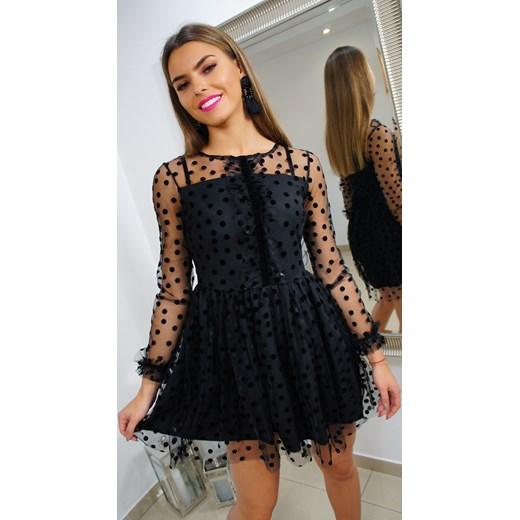 3b66798318 Sukienka mini rozkloszowana koronkowa na sylwestra poliestrowa w Domodi