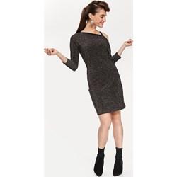 cfb3974231 Sukienka Top Secret z długimi rękawami na sylwestra elegancka z  asymetrycznym dekoltem bez wzorów midi